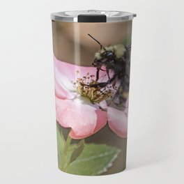 Bumble Bee on a Rose Travel Mug