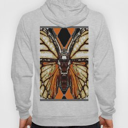 RIBBED WHITE BROWN & BLACK BUTTERFLY WING VEINS Hoody