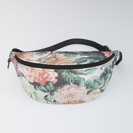 Vintage green pink yellow watercolor roses floral Fanny Pack
