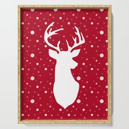 Deer on red . Serving Tray