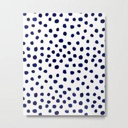 Mini dots painterly brushstrokes boho modern indigo blue and white preppy nautical dorm college art Metal Print