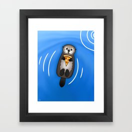 Sea Otter with Pizza Framed Art Print