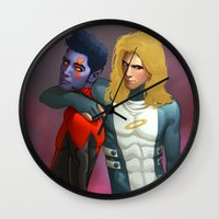 nightcrawler Wall Clocks featuring Demon and Angel by Kimball Gray