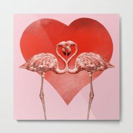 Flamingoes in Love Metal Print