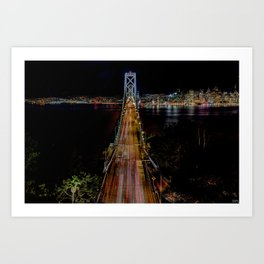 Oakland Bay Bridge by night  Art Print