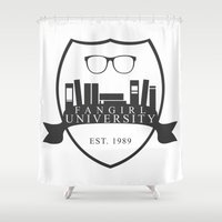 fangirl Shower Curtains featuring Fangirl University by Legendary Fangirl