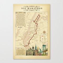 New York City Vintage {Marathon Course Map} 26.2 Canvas Print
