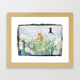 cute cat frolicking with chicks Framed Art Print