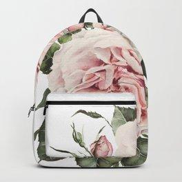 Pink Garden Roses Watercolor Backpack