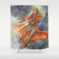 star lord Shower Curtains featuring Star-Lord Watercolor by Melissa M.