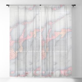 Rosegold Pink on Gray Marble Metallic Foil Style Sheer Curtain