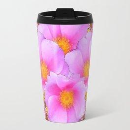 Chocolate Brown Pink Wild Roses Pattern Art Travel Mug