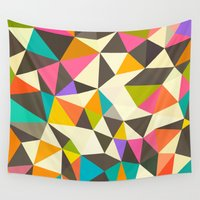 mod Wall Tapestries featuring Mod Tris by Beth Thompson
