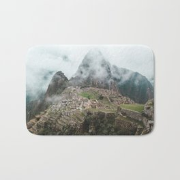 Ancient Inca ruins of Machu Picchu and surrounding Andes mountains in the early morning, Peru Bath Mat