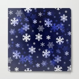 Dark Blue Snowflakes Metal Print