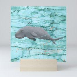 Cute Dugong Swimming Underwater  Mini Art Print