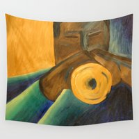 trumpet Wall Tapestries featuring The Trumpet Player by Griffin Lauerman