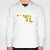 maryland Hoodies featuring Maryland in Flowers by Ursula Rodgers