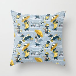 Ready For a Rainy Walk // pastel blue background dachshunds dogs with yellow and transparent rain co Throw Pillow