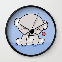 Kawaii Cute Koala With Heart Wall Clock