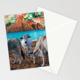 surreal cow pasture Stationery Cards