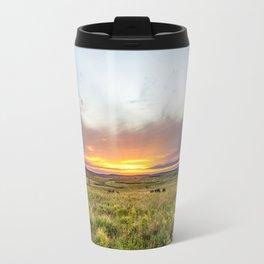 Tallgrass Prairie - Sunset and Bison on the Plains Travel Mug