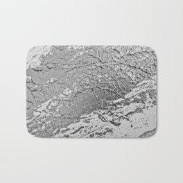 SLICK | Silver monochrome abstract acrylic art by Natalie Burnett Art Bath Mat