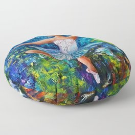 Dance In The Rain Of Color Floor Pillow