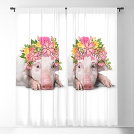 Pig With Flower Crown - Flower Bandana Blossoming Farm Animal Blackout Curtain