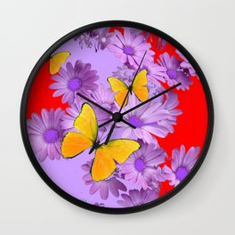 Red Yellow Butterflies Lilac Color Purple Daisies Wall Clock