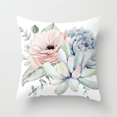 Pretty Pastel Succulents Throw Pillow