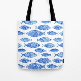 Folk watercolor fish pattern Tote Bag