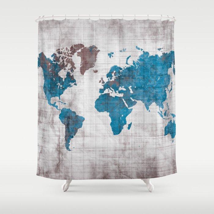 World Map 96 Blue Worldmap Map Shower Curtain By Jbjart Society6