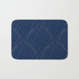 Japanese shibori dark blue indigo sapphire white Bath Mat