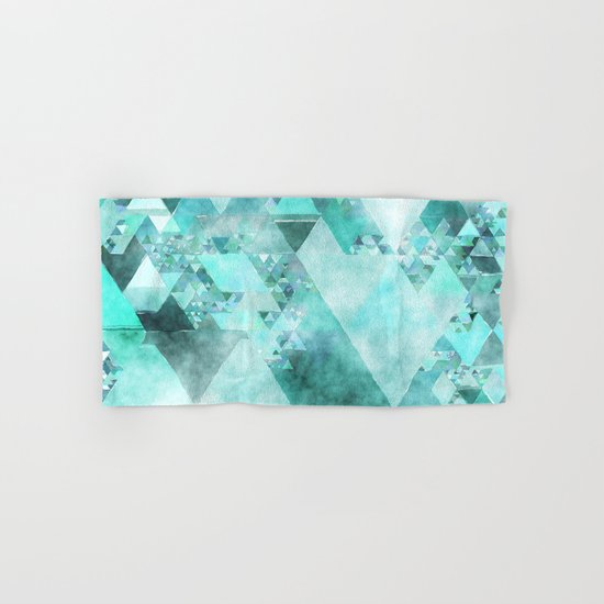 Triangles in aqua - Modern turquoise green blue triangle pattern Hand & Bath Towel
