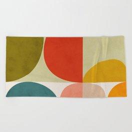 shapes of mid century geometry art Beach Towel