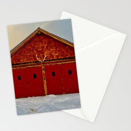 Red Farm Building Stationery Cards
