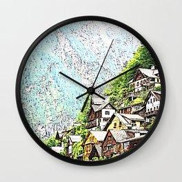 Austria - drawing Hallstatt Wall Clock