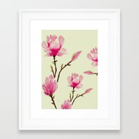 craftberrybush Framed Art Prints featuring Pink Magnolia  by craftberrybush