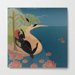 Kuan Yin Beneath a Willow Metal Print