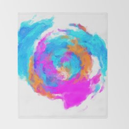 psychedelic splash painting abstract texture in blue pink orange Throw Blanket
