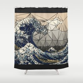 Lowpoly - The great wave of K Shower Curtain