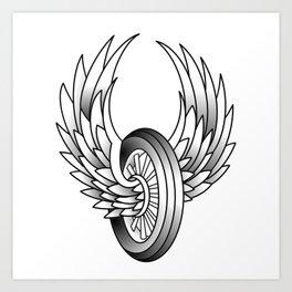 Winged Motorcycle Wheel Art Print