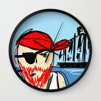 pirate ship Wall Clocks featuring Pirate by Rimadi