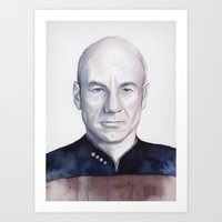 picard Art Prints featuring Captain Picard by Olechka