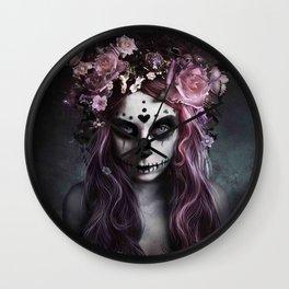Zombie face tattoo girl Wall Clock