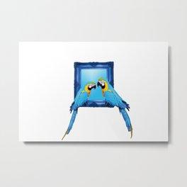 macaw Bird sitting on frame white Metal Print