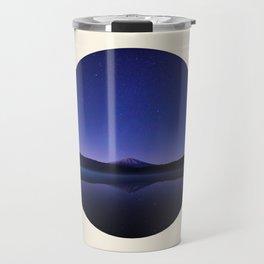 Volcano Against Purple Star Sky Round Photo Travel Mug