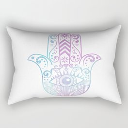 Hamsa Hand Purple and Blue Watercolor Rectangular Pillow