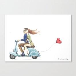 Love&Vespa Canvas Print